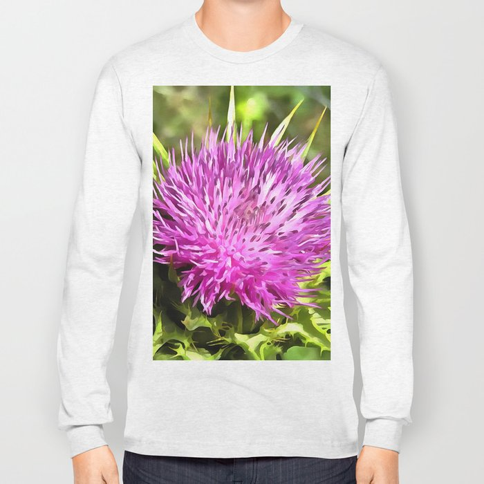 Purple Thistle Wildflower Long Sleeve T-shirt