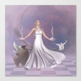 Wonderful fairy with dove Canvas Print
