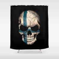 finland Shower Curtains featuring Dark Skull with Flag of Finland by Jeff Bartels