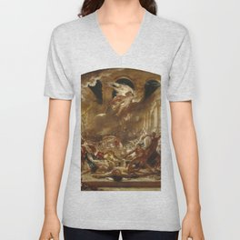 William Etty - The Destroying Angel and Daemons of Evil Interrupting the Orgies of the Vicious and I Unisex V-Neck