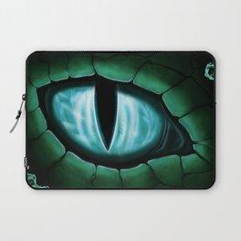 Cyan Dragon Eye Fantasy Painting Colorful Digital Illustration Laptop Sleeve