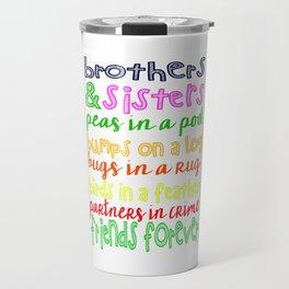 Brothers and Sisters Subway Art, Sibling Wall Art Children, Gift Travel Mug