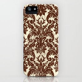 Dark Chocolate Damask Line Work Fleur de Lis Pattern Artwork iPhone Case