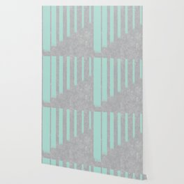 Soft cyan stripes on concrete Wallpaper