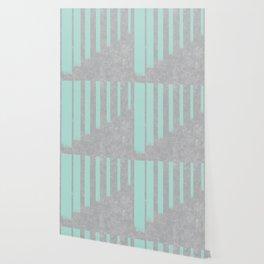 Soft cyan stripes on concrete Wallpaper