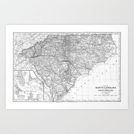 Vintage Map of The Carolinas (1891) BW Art Print