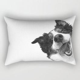 Black and White Happy Dog Rectangular Pillow