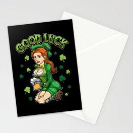 Good Luck - Beautiful Irish Girl - Cloverleaf Stationery Cards