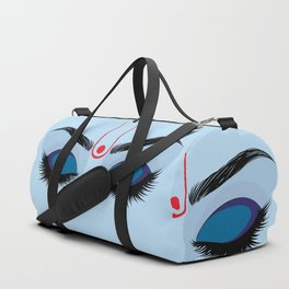 Indian god krishna eyes on blue skin Duffle Bag