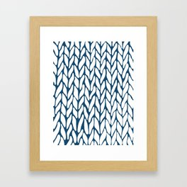 Hand Knitted Navy Framed Art Print