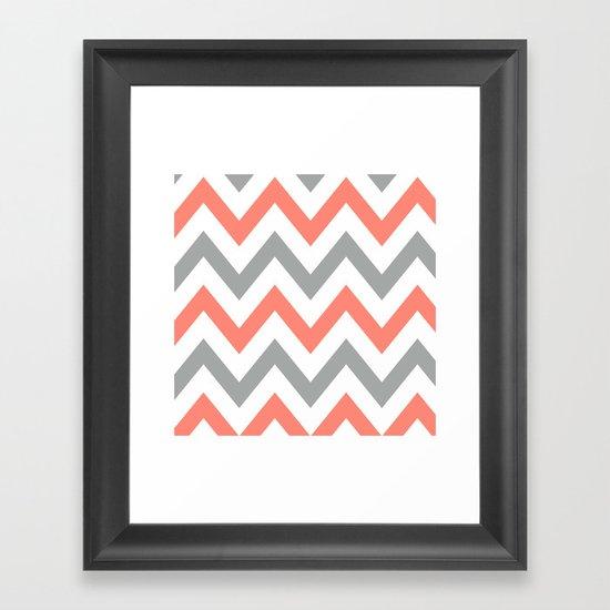 Coral & Gray Chevron Framed Art Print