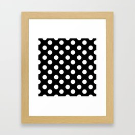 Polka Dot (White & Black Pattern) Framed Art Print