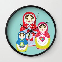 Turquoise babushka , matryoshka , russian doll , nursery decor , children gift, birthday gift Wall Clock