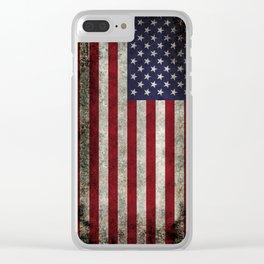 American Flag, Old Glory in dark worn grunge Clear iPhone Case