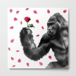 Gorilla In Love Metal Print