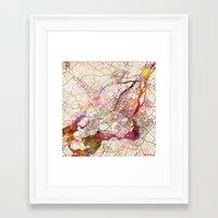 montreal Framed Art Prints featuring Montreal by MapMapMaps.Watercolors