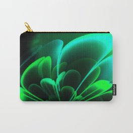 Stylized Half Flower Green Carry-All Pouch
