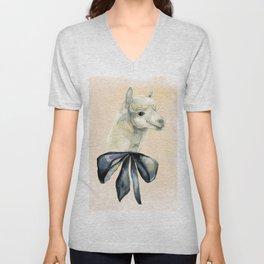 alpaca with black tie Unisex V-Neck