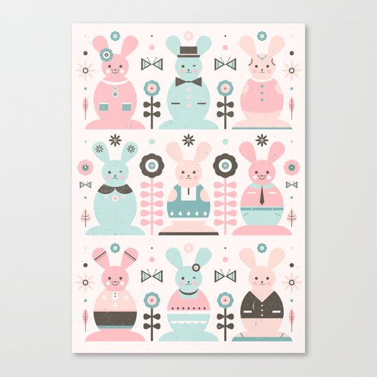 Pink Sugar Gingerbread Rabbits  Canvas Print