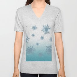 A Chilly Frozen Winter at Christmas Time in the Snow Unisex V-Neck