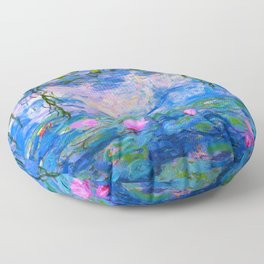 Water Lilies Claude Monet Restored Floor Pillow