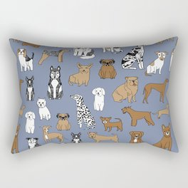 Dogs pattern minimal drawing dog breeds cute pattern gifts by andrea lauren Rectangular Pillow