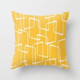 Retro Yellow Geometric Shapes Pattern Throw Pillow
