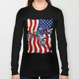 High Flying Freestyle Motocross Rider & US Flag Long Sleeve T-shirt