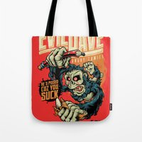 dave matthews Tote Bags featuring Evil Dave by Bob Mosquito