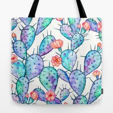 Rainbow Watercolor Cactus Pattern Tote Bag