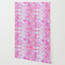 Pink Pearlescent Mermaid Scales Pattern Wallpaper