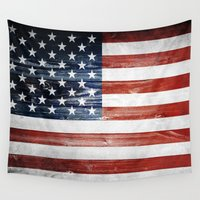 american flag Wall Tapestries featuring American flag by Nicklas Gustafsson