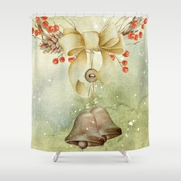 Christmas vintage bell Shower Curtain