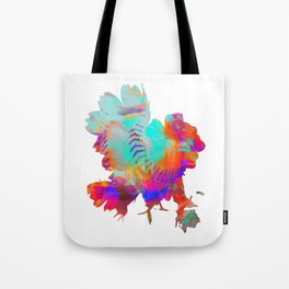 Modern Mixed Art - Advanced Spherical Flowers - Purple Age! Tote Bag