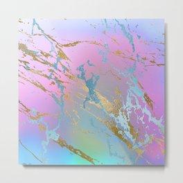 Pastel Rainbow Marble effect Metal Print