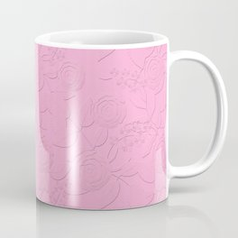 .Embossed roses on a pink background with decorative elements. Coffee Mug