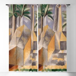 Tropical Oasis, Palms and cityscape landscape painting by Pablo Picasso Blackout Curtain
