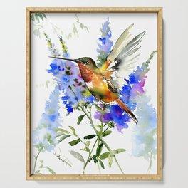 Alen's Hummingbird and Blue Flowers, floral bird design birds, watercolor floral bird art Serving Tray