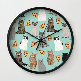 Cats pizza slices food cat lover pet gifts must have cat breeds Wall Clock