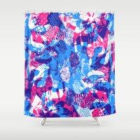 sleep Shower Curtains featuring Sleep Explosion by Tyler Spangler