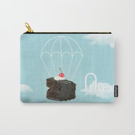 Isolated Chocolate cherry cake with parachute on blue sky background Carry-All Pouch