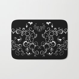 Abstract floral ornament in white color Bath Mat