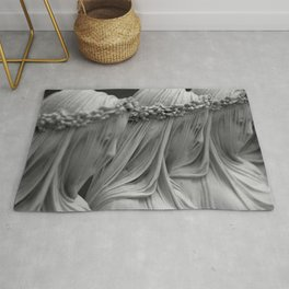 The Veiled Vestal Virgins marble sculpture by Raffaelo Mont black and white photograph Rug