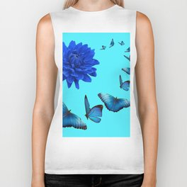 BLUE DAHLIA FLOWER & BLUE BUTTERFLIES ALLURE Biker Tank