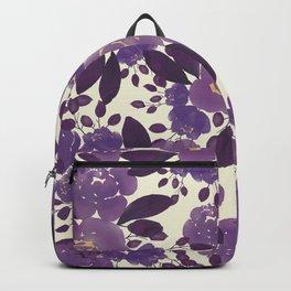 Elegant ivory gold lavender purple watercolor floral  Backpack