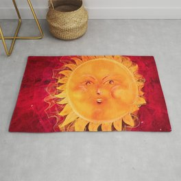 Digital painting of a chubby sun with a funny face Rug