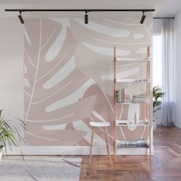 Pink monstera leaves Wall Mural
