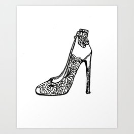 The Shoe That Makes the Outfit Black and White Art Print