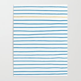 Blue French Paris Stripe Pattern with Gold Poster