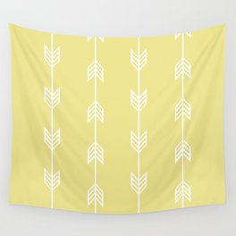 Running Arrows in White and Yellow Wall Tapestry